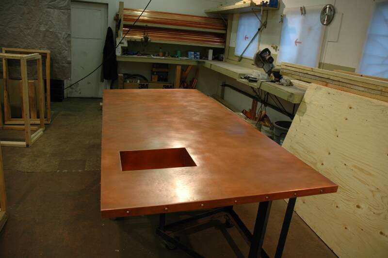 copper countertops - being manufactured